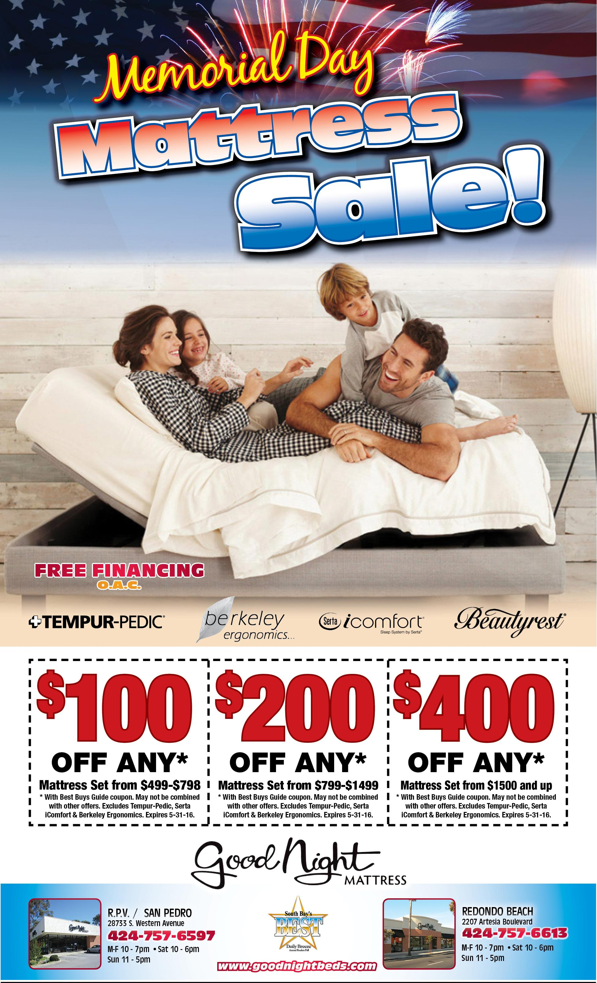 Memorial Day Sale Going On Now Good Night Mattress